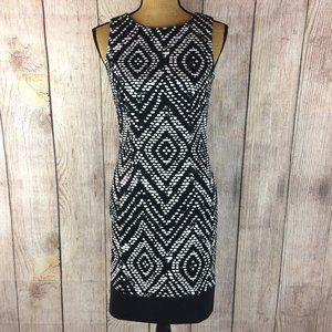 Mario Serrani Black & White Sleeveless Dress Sz 2